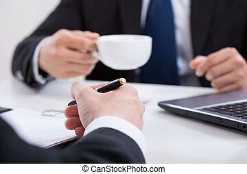 コーヒー, ミーティング, 飲むこと, 人