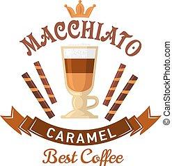 コーヒー, メニュー, macchiato, カラメル, デザイン, 飲み物