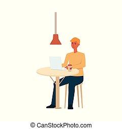 コーヒー, モデル, ラップトップ, スタイル, テーブル, 漫画, 人