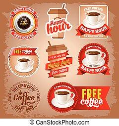 コーヒー, ラベル, 無料で