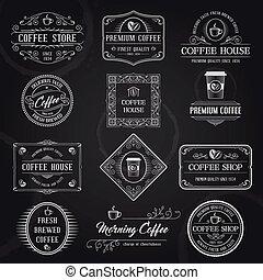 コーヒー, ラベル, 黒, レトロ