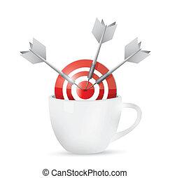 コーヒー, 中心点, ターゲット, 大袈裟な表情をしなさい