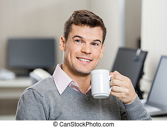 コーヒー, 中心, 呼出し, 従業員, 微笑, 持つこと