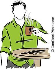 コーヒー, 人, ベクトル, イラスト, カップ