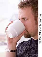 コーヒー, 人, 窓, カップ