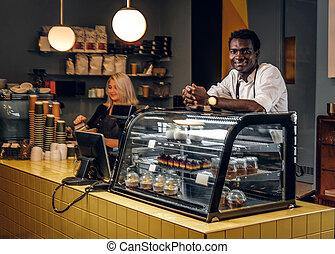 コーヒー, 仕事, shop., 若い, 2, ∥(彼・それ)ら∥, 最新流行である, baristas
