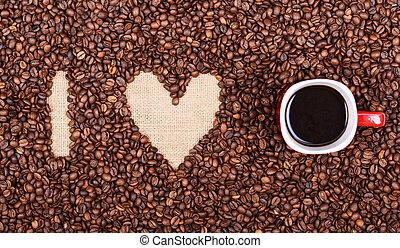 """コーヒー, 作られた, 愛, カップ, coffee"""", """"i, 豆, 赤"""