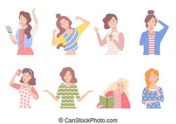 コーヒー, 保有物のコップ, 感情, プラスチック, 女性, 女の子
