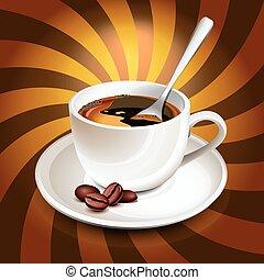 コーヒー, 光線, 上に, カップ