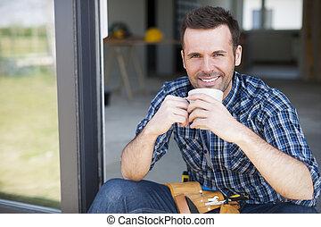 コーヒー, 労働者, 建設, ブレーキ, の間, 微笑