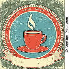 コーヒー, 古い, テキスト, スタイル, ラベル, ペーパー, background.vintage