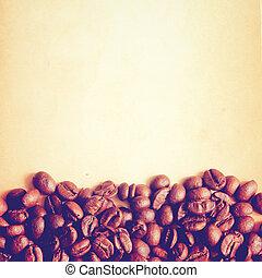 コーヒー, 古い, 効果, フィルター, ペーパー, 豆, レトロ, 背景