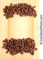 コーヒー, 古い, 木製である, メモ, ペーパー, 豆, 背景