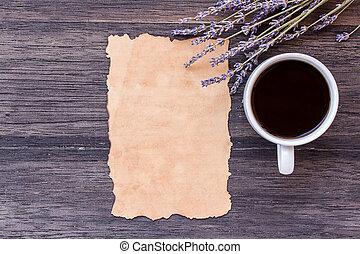コーヒー, 古い, 木製である, 暗い, バックグラウンド。, ペーパー, テーブル