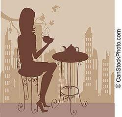 コーヒー, 女の子, カップ