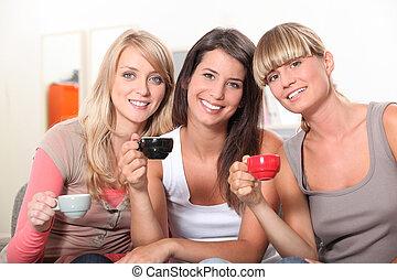コーヒー, 女の子, 飲むこと, カップ