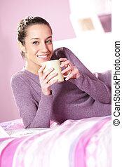 コーヒー, 女性の保有物, ベッド, カップ