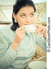 コーヒー, 女性ビジネス, カップ, お茶, 若い, ∥あるいは∥