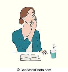 コーヒー, 女, あくびする, モデル, -, カップ, 特徴, イラスト, 間, ベクトル, book., 女性, テーブル, 退屈させられた, 開いた