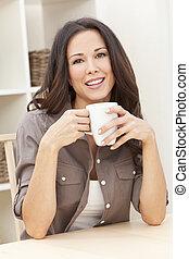 コーヒー, 女, お茶, 家, 飲むこと, ∥あるいは∥
