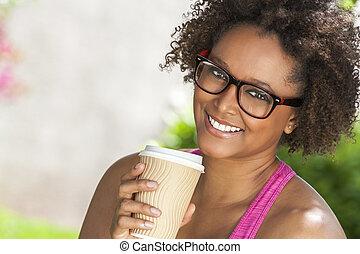 コーヒー, 女, アメリカ人, アフリカ, 飲む ガラス