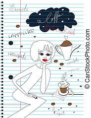 コーヒー, 女, カップ