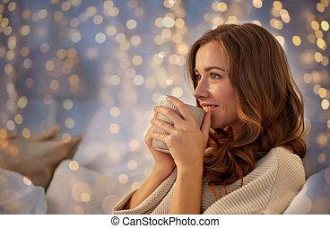 コーヒー, 女, カップ, ベッド, 家, 幸せ