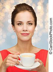 コーヒー, 女, カップ, 上に, ライト, 赤