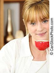 コーヒー, 女, カップ, 若い, expresso, 飲むこと