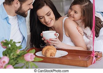 コーヒー, 女, ポジティブ, 見る, よい, 持つこと