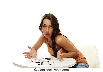 コーヒー, 女, 彼女, 欠けている, モデル, 若い, 背景, テーブル, 白