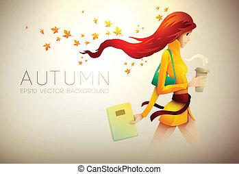 コーヒー, 女, 彼女, 若い, 秋, 背景, 行きなさい, |
