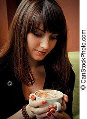 コーヒー, 女, 若い