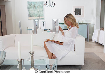 コーヒー, 女, 部屋, 上品, 飲むこと, 読書, 白