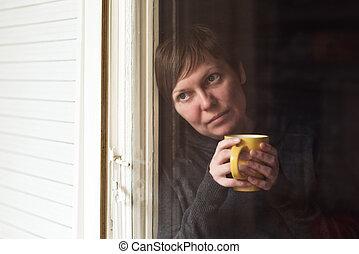 コーヒー, 女, 部屋, 悲しい, 暗い, 単独で, 飲むこと
