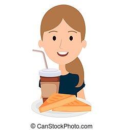 コーヒー, 女, 飲みなさい, bread
