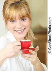 コーヒー, 女, 飲むこと, カップ