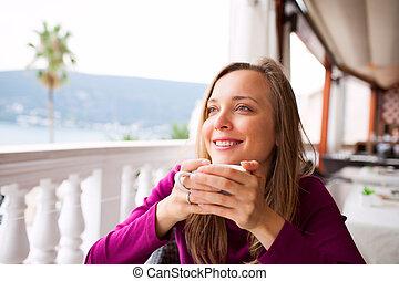コーヒー, 女, 飲むこと, レストラン