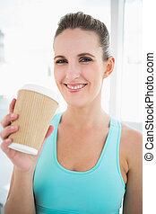 コーヒー, 女, 飲むこと, 微笑, スポーツウェア
