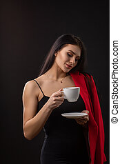 コーヒー, 幸せ, 飲むこと, 女, 美しい, カップ