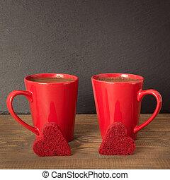 コーヒー, 広場, ビロード, image., 木製である, 上に, バレンタインデー, バックグラウンド。, スレート, ケーキ, 心, カップ, 構成, 赤, 板