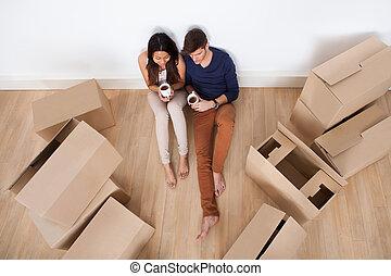 コーヒー, 床, 恋人, 新しい 家, 持つこと