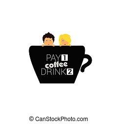 コーヒー, 恋人, イラスト, カップ
