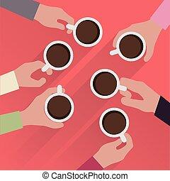 コーヒー, 手, カップ