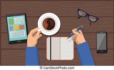 コーヒー, 手, ペン, ワークスペース, カップ