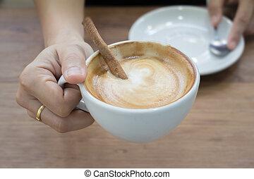 コーヒー, 手, 暑い, latte, カップ