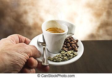コーヒー, 手, 豆, カップ
