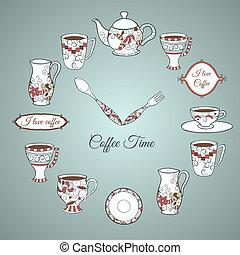 コーヒー, 招待, カード, 時間