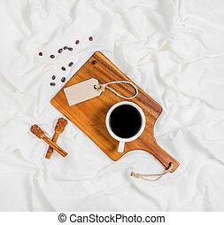 コーヒー, 持つこと, ベッド, カップ