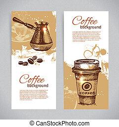 コーヒー, 旗, レストラン, カフェ, セット, メニュー, コーヒーハウス, backgrounds., 型, バー